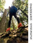 low angle view of female hiker... | Shutterstock . vector #1069300943