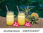homemade mango and pineapple...   Shutterstock . vector #1069316447