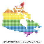 a pixel lgbt pride canada map... | Shutterstock .eps vector #1069327763