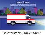 ambulance emergency car on road ... | Shutterstock .eps vector #1069353017