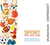 banner of sport balls and... | Shutterstock .eps vector #1069366337