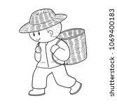 vector of man and wicker basket | Shutterstock .eps vector #1069400183