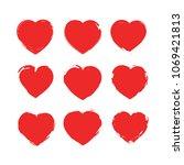 set of hearts . stamps...   Shutterstock .eps vector #1069421813