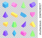 geometric 3d prisms collection  ... | Shutterstock .eps vector #1069428527