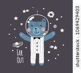 cute little bear dreams of... | Shutterstock .eps vector #1069429403