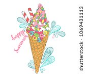 ice cream. paisley. happy... | Shutterstock .eps vector #1069431113