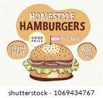 retro fast food hamburger... | Shutterstock .eps vector #1069434767