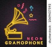 gramophone silhouette neon... | Shutterstock .eps vector #1069437593