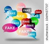 fake news on multiple speech... | Shutterstock . vector #1069437737