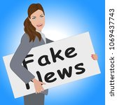 fake news card being held by... | Shutterstock . vector #1069437743