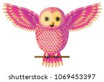 funny curious pink yellow owl... | Shutterstock .eps vector #1069453397
