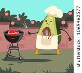 funny avocado in a chef hat... | Shutterstock .eps vector #1069462577