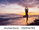 woman practicing yoga  vibrant... | Shutterstock . vector #106946783