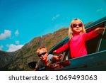 happy little girl and boy... | Shutterstock . vector #1069493063