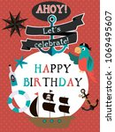 happy birthday card for pirate... | Shutterstock .eps vector #1069495607