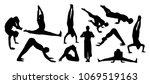 vector set of yoga silhouettes | Shutterstock .eps vector #1069519163