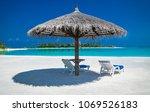 beautiful beach with white sand ...   Shutterstock . vector #1069526183