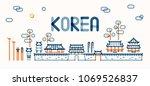 traditional korean style house   Shutterstock .eps vector #1069526837