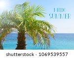 hello summer vacation message... | Shutterstock . vector #1069539557