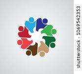 teamwork meeting 8. abstract...   Shutterstock .eps vector #1069542353