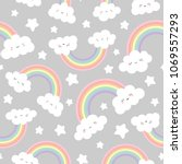 cloud background  rainbow... | Shutterstock .eps vector #1069557293