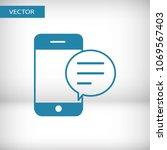mobile phone vector icon ... | Shutterstock .eps vector #1069567403