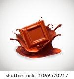 chocolate in splash. vector... | Shutterstock .eps vector #1069570217
