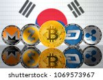 cryptocurrency coins   bitcoin  ... | Shutterstock . vector #1069573967