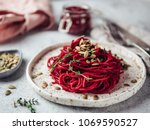 beetroot pesto with copy space | Shutterstock . vector #1069590527