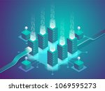 cryptocurrency and blockchain.... | Shutterstock .eps vector #1069595273