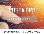Small photo of Password input on blurred background screen. Password protection against hackers.