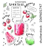 hand drawn smoothie jar with...   Shutterstock .eps vector #1069601747
