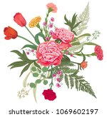 bouquet of red  pink  yellow... | Shutterstock .eps vector #1069602197
