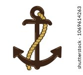 vector nautical anchor logo.... | Shutterstock .eps vector #1069614263
