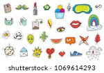 cute colorful modern patch set. ... | Shutterstock .eps vector #1069614293