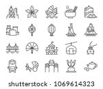 hong kong travel icon set.... | Shutterstock .eps vector #1069614323