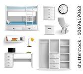 teen room interior furniture... | Shutterstock .eps vector #1069619063