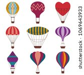 hot air balloons colorful set.... | Shutterstock .eps vector #1069643933