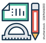 creativity with drafting tools ...   Shutterstock .eps vector #1069646003