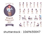 young pretty woman in buttoned... | Shutterstock .eps vector #1069650047