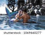 a sea love story between man... | Shutterstock . vector #1069660277