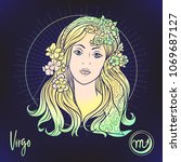 virgo zodiac sign. astrological ... | Shutterstock .eps vector #1069687127