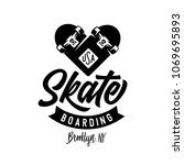 skateboarding heart made of two ... | Shutterstock .eps vector #1069695893
