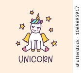 unicorn cute cartoon drawing... | Shutterstock .eps vector #1069695917