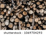 firewood for the winter  stacks ... | Shutterstock . vector #1069704293