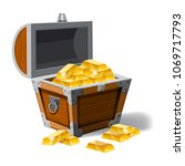 old pirate chest full of gold...   Shutterstock .eps vector #1069717793