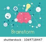 flat  brainstorm. flat brain...   Shutterstock .eps vector #1069718447