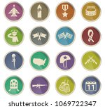 veterans day vector icons in... | Shutterstock .eps vector #1069722347