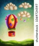hot air balloon high in the sky | Shutterstock . vector #1069724597