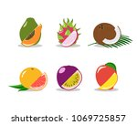vector set of delicious fruits. ... | Shutterstock .eps vector #1069725857